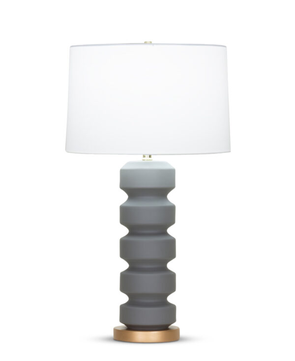 FlowDecor Luca Table Lamp in ceramic with charcoal grey matte finish and resin base with gold finish and off-white cotton tapered drum shade (# 4349)