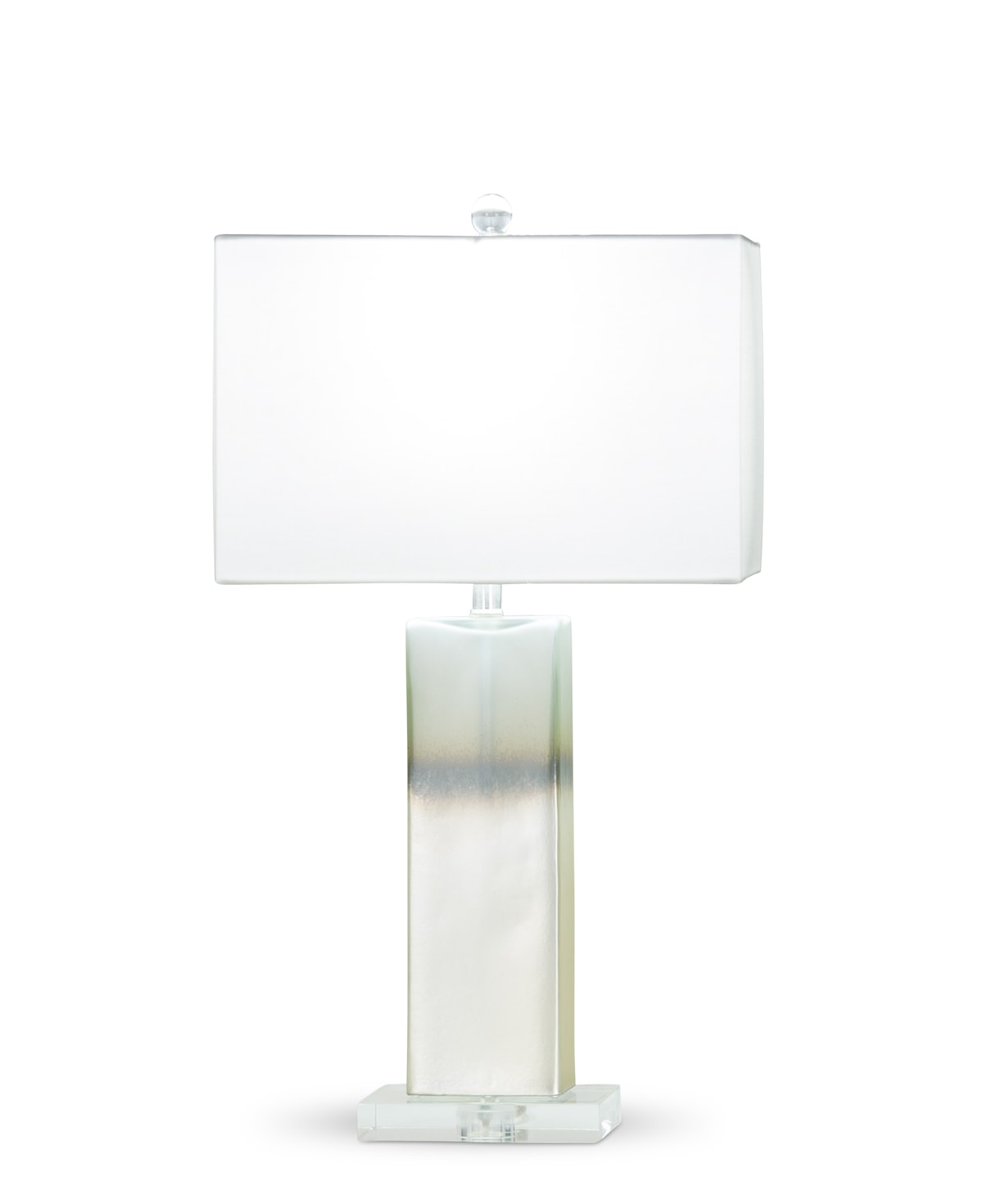 FlowDecor Lugano Table Lamp in mouth-blown glass with pearlescent graduated finish and white cotton rectangular shade (# 4071)