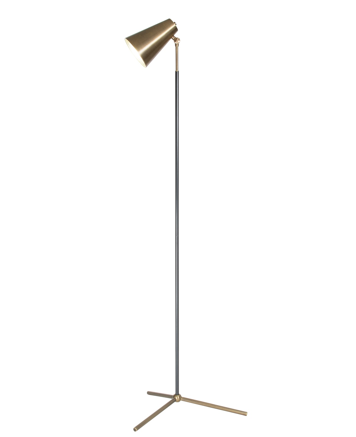 FlowDecor Maggie Floor Lamp in metal with antique brass finish and metal with gunmetal finish and  shade (# 4445)