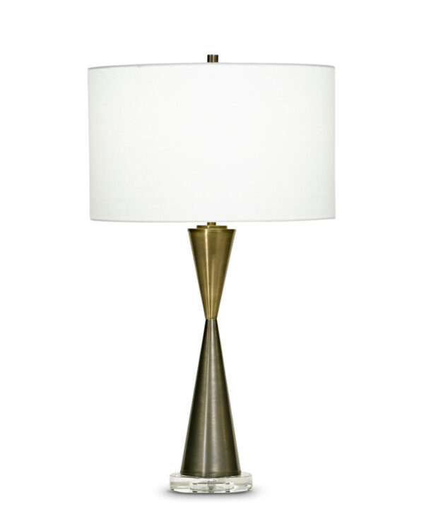FlowDecor Magnolia Table Lamp in metal with antique brass & bronze finishes and off-white linen drum shade (# 3709)