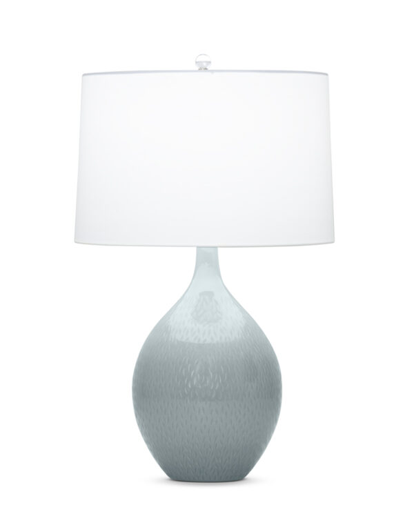 FlowDecor Malone Table Lamp in mouth-blown glass with grey-blue finish and off-white cotton tapered drum shade (# 3852)