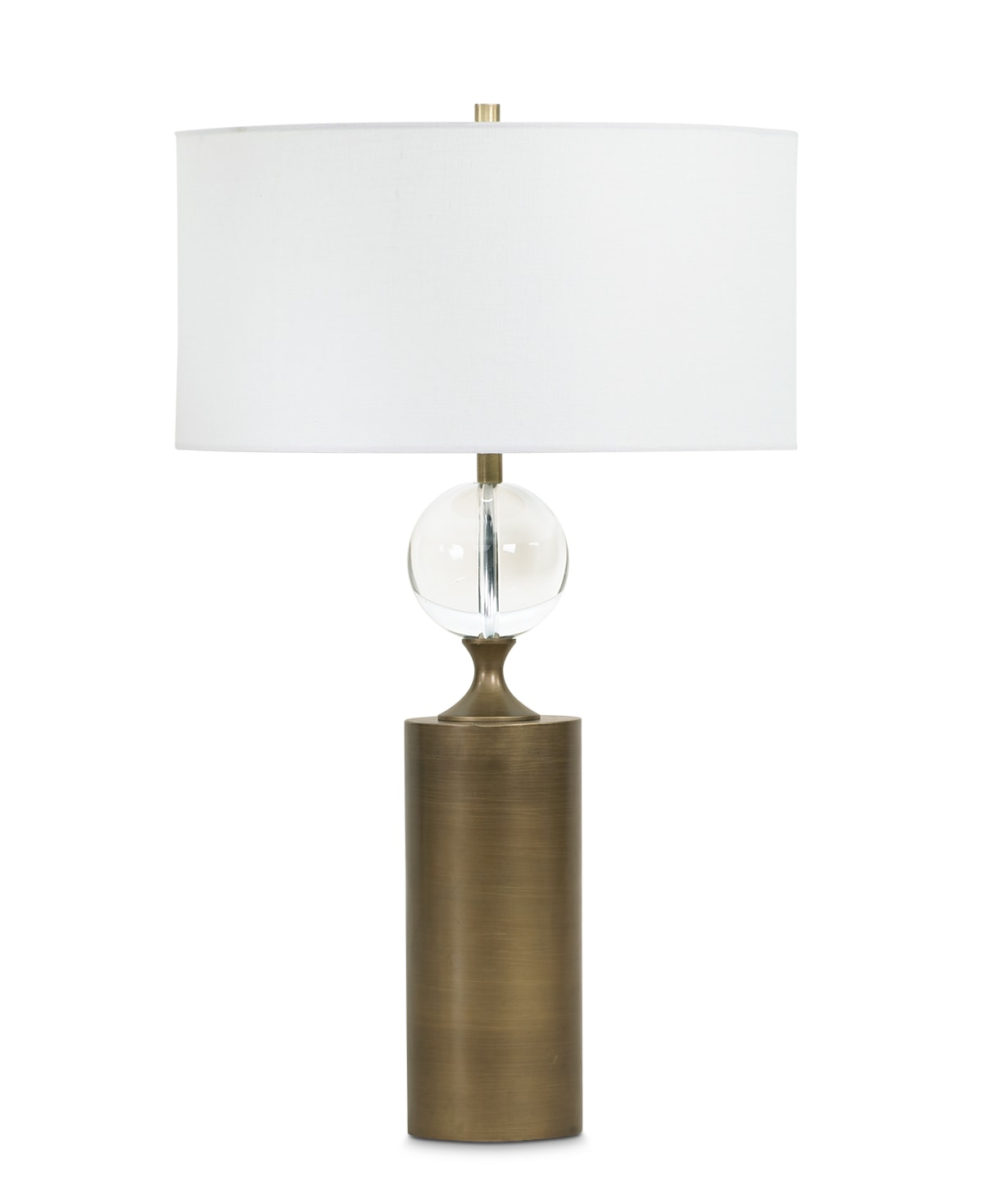 FlowDecor Maple Table Lamp in resin with antique brass finish (Noble AB) and crystal and off-white linen drum shade (# 3646)