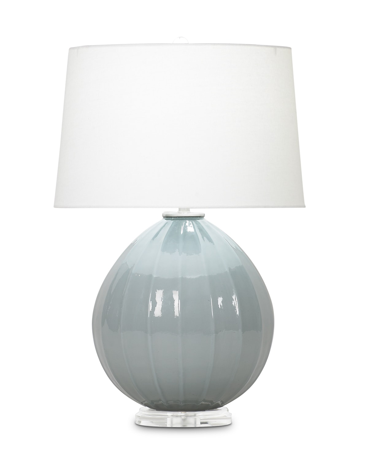 FlowDecor Margaux Table Lamp in mouth-blown glass with grey-blue finish and acrylic base and off-white linen tapered drum shade (# 3673)