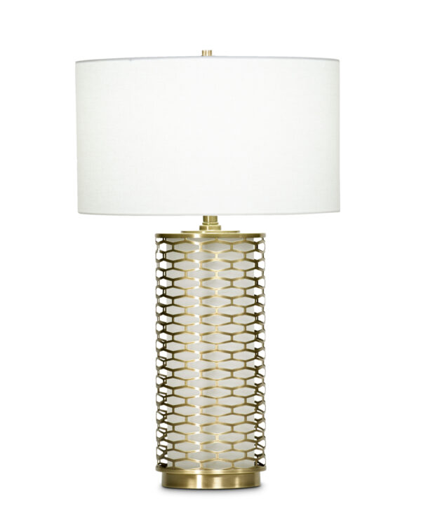 FlowDecor Marigold Table Lamp in metal with antique brass finish and glass with frosted finish and off-white linen drum shade (# 3714)