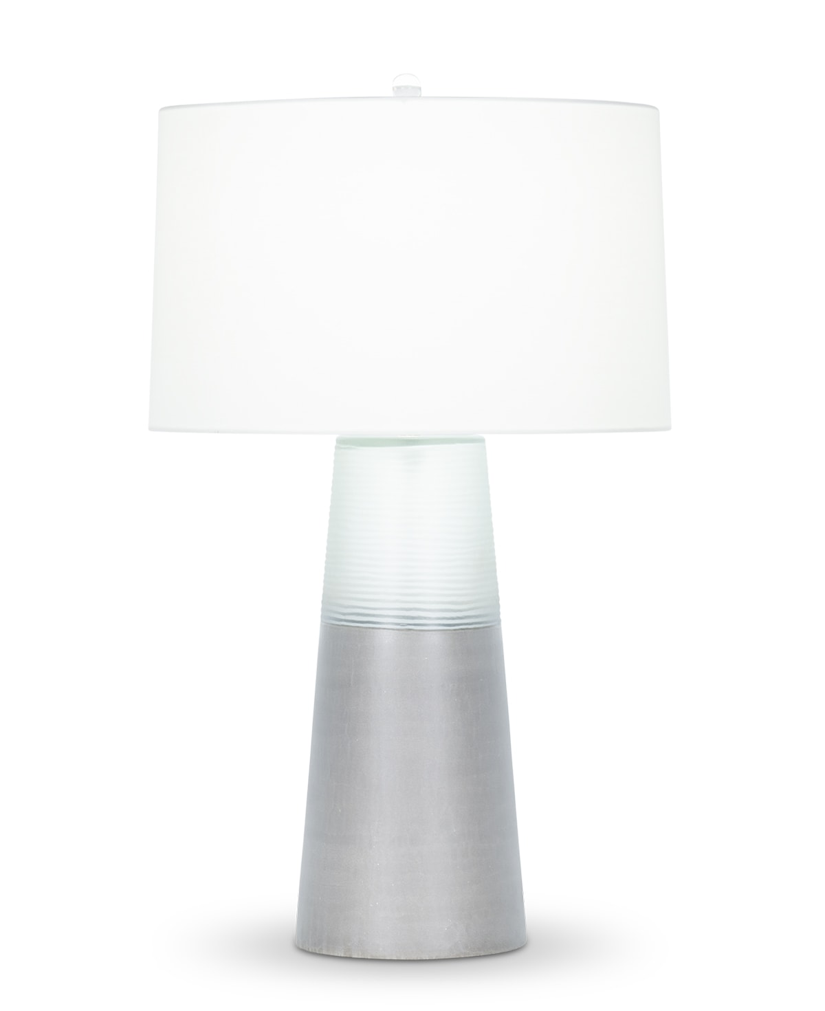 FlowDecor Marnie Table Lamp in mouth-blown glass with grey finish and mouth-blown clear reeded glass and off-white cotton tapered drum shade (# 4434)