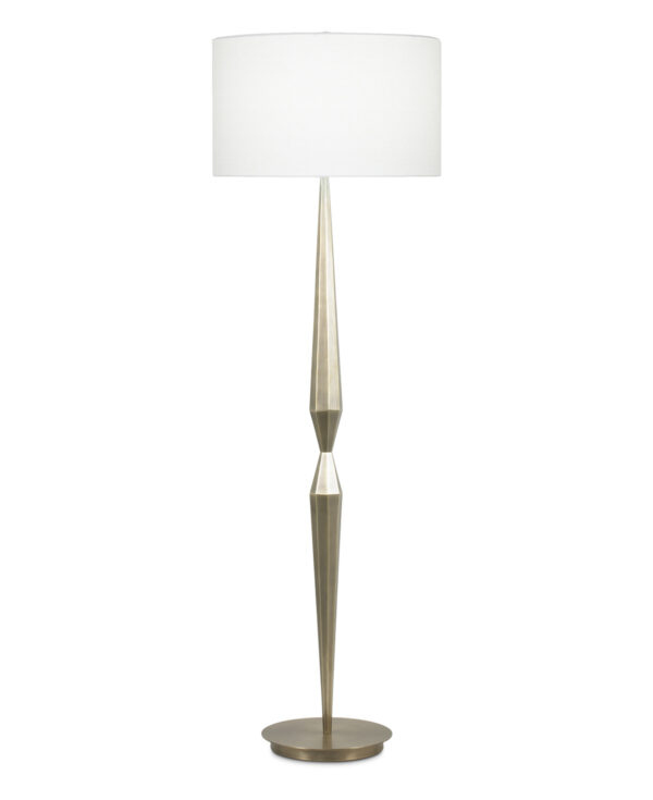 FlowDecor Martin Floor Lamp in metal with antique brass finish and off-white linen drum shade (# 3828)