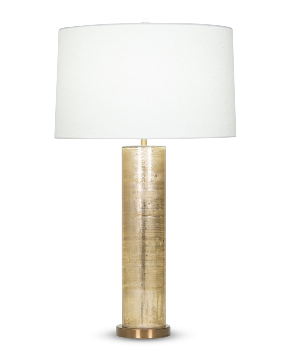 FlowDecor Melville Table Lamp in mouth-blown glass with gold metallic finish and off-white linen tapered drum shade (# 4034)