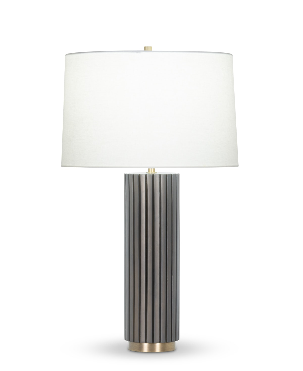 FlowDecor Meredith Table Lamp in resin with dark brown finish and metal with antique brass finish and off-white linen tapered drum shade (# 4440)
