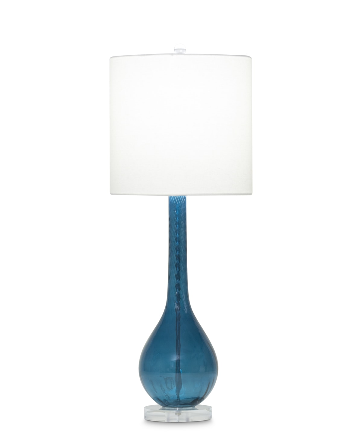 FlowDecor Merlot Table Lamp in mouth-blown glass with blue finish and off-white linen drum shade (# 3672)