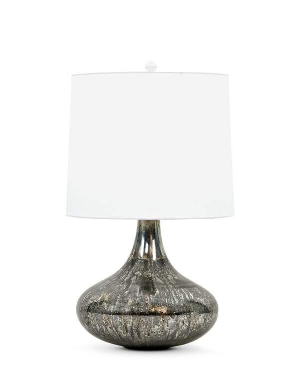 FlowDecor Miles Table Lamp in mouth-blown glass with dark mixed finish and off-white cotton tapered drum shade (# 3805)