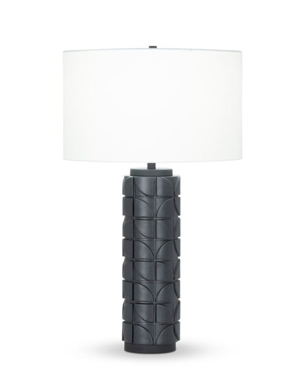 FlowDecor Mimi Table Lamp in resin with black finish and off-white cotton drum shade (# 4437)