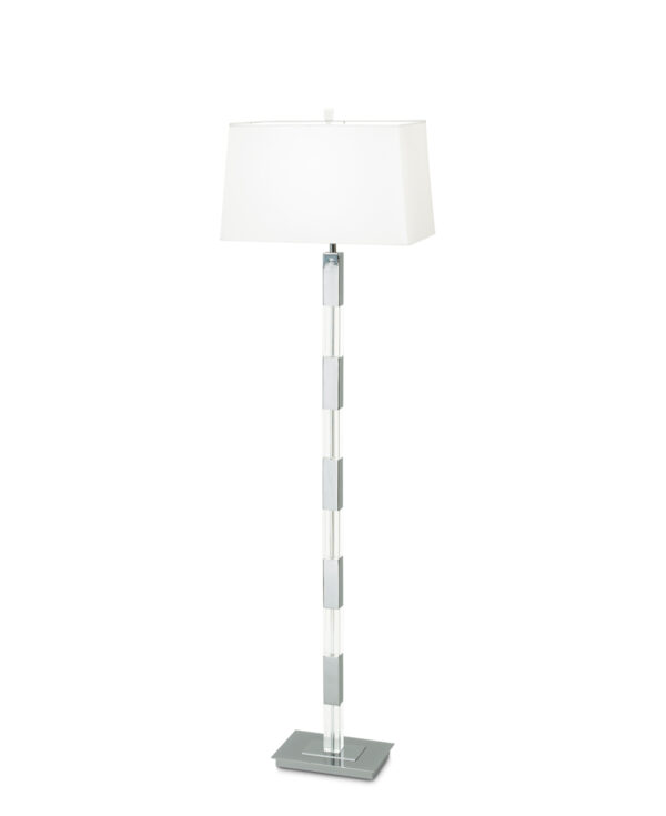 FlowDecor Moreno Floor Lamp in crystal and metal with chrome finish and white cotton tapered rectangular shade (# 3157)