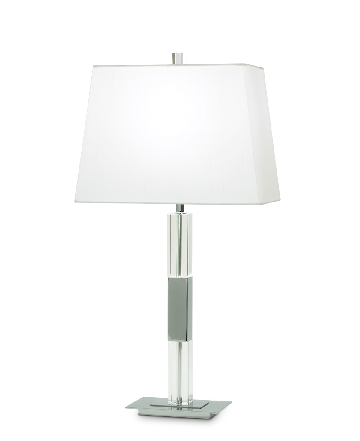 FlowDecor Moreno Table Lamp in crystal and metal with chrome finish and white cotton tapered rectangular shade (# 3156)