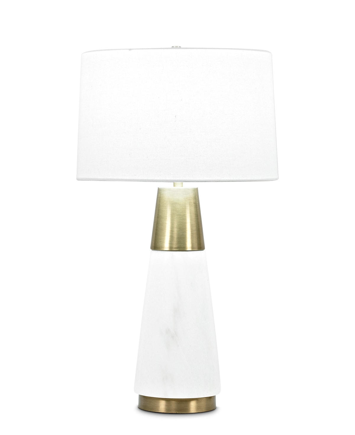 FlowDecor Morris Table Lamp in white marble and metal with antique brass finish and off-white linen tapered drum shade (# 3819)