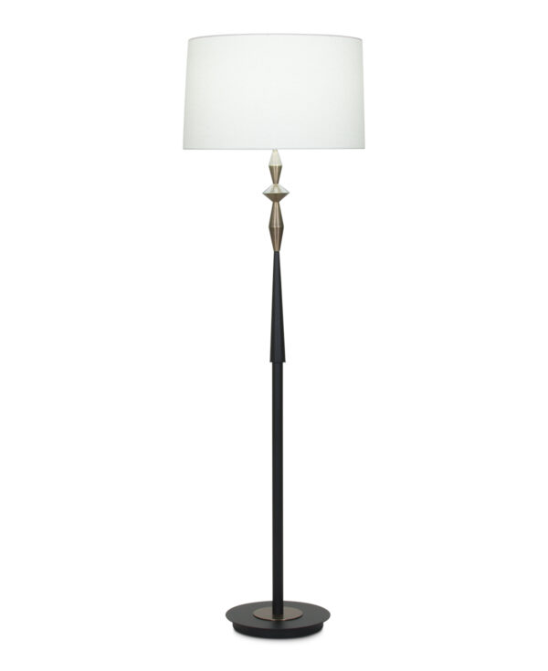 FlowDecor Morrison Floor Lamp in metal with antique brass & black matte finishes and off-white linen tapered drum shade (# 4052)