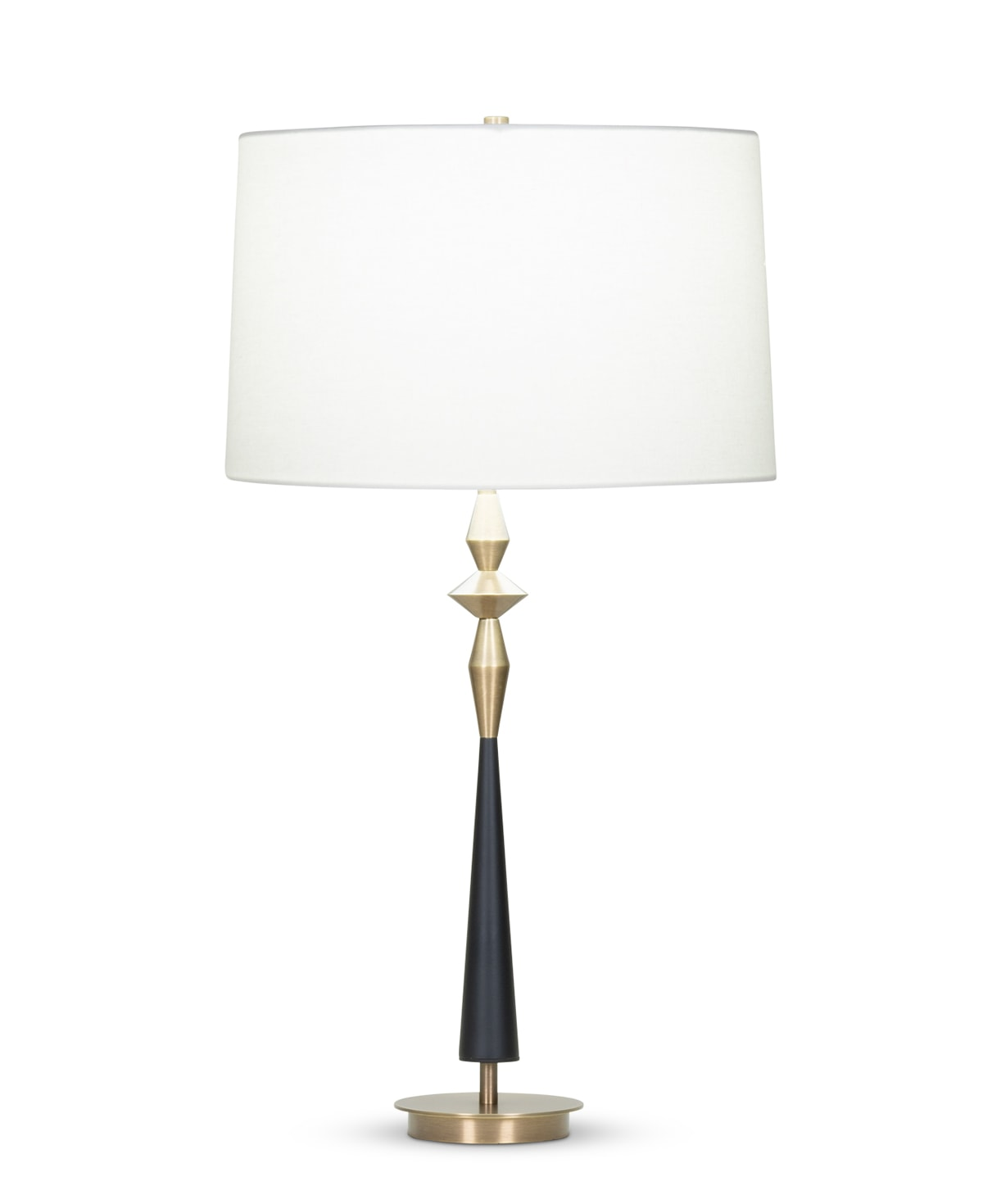 FlowDecor Morrison Table Lamp in metal with antique brass & black matte finishes and off-white linen tapered drum shade (# 4082)