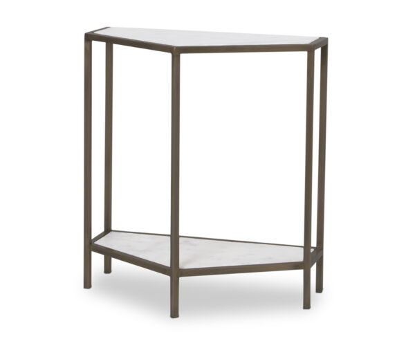FlowDecor Murray Console Table in metal with bronze finish and white/grey marble (# 7011)