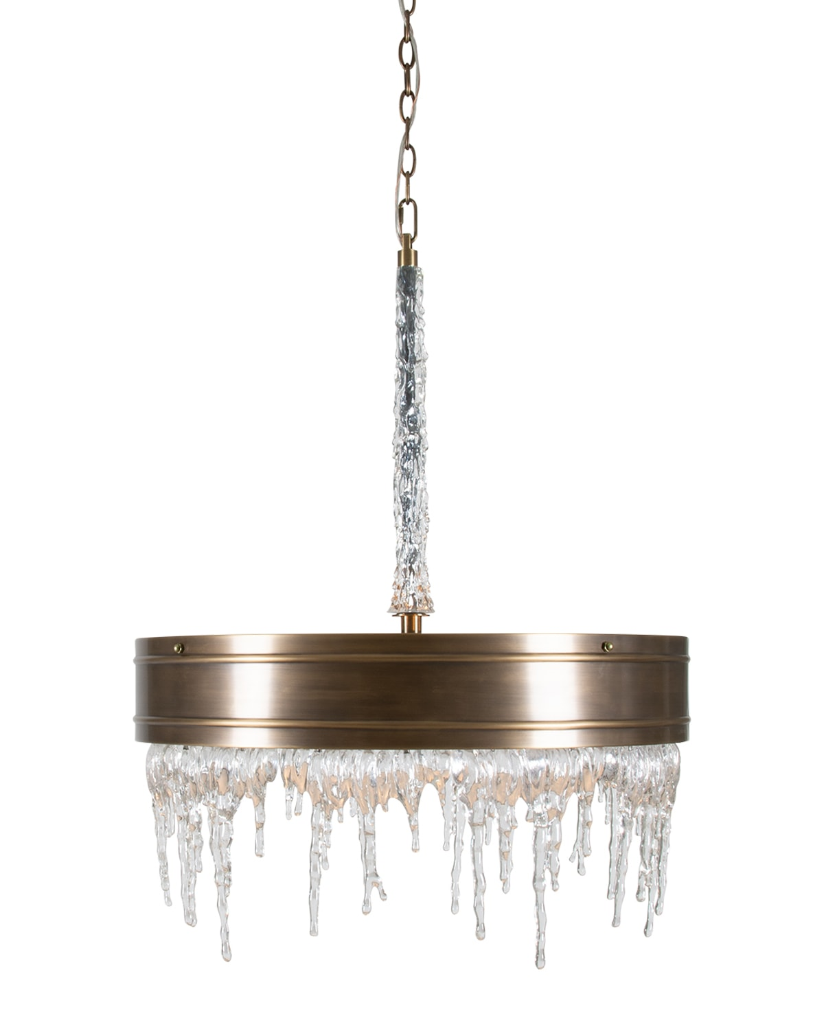 FlowDecor Natalie Chandelier in brass with antique brass finish and acrylic (# 6054)