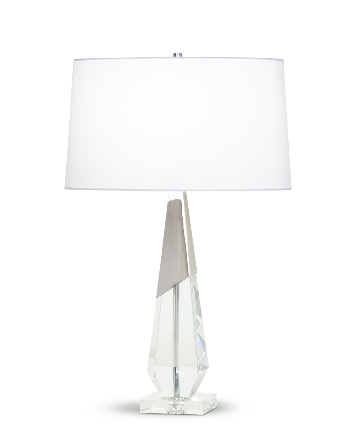 FlowDecor Nathan Table Lamp in crystal and metal with polished nickel finish and white linen oval shade (# 4366)