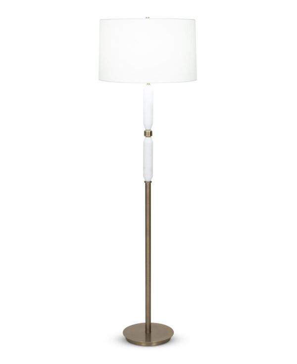 FlowDecor Ness Floor Lamp in white marble and metal with antique brass finish and off-white linen tapered drum shade (# 4089)