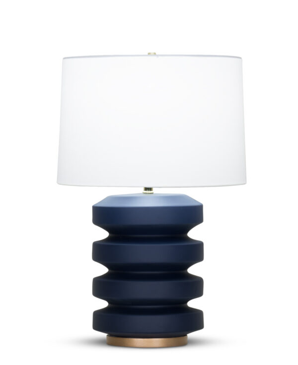 FlowDecor Nolan Table Lamp in ceramic with navy blue matte finish and resin base with gold finish and off-white cotton tapered drum shade (# 4369)