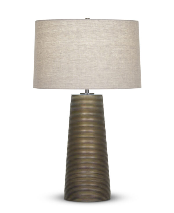 FlowDecor Olympia Table Lamp in resin with bronze finish and finely ribbed surface and beige linen tapered drum shade (# 4361)