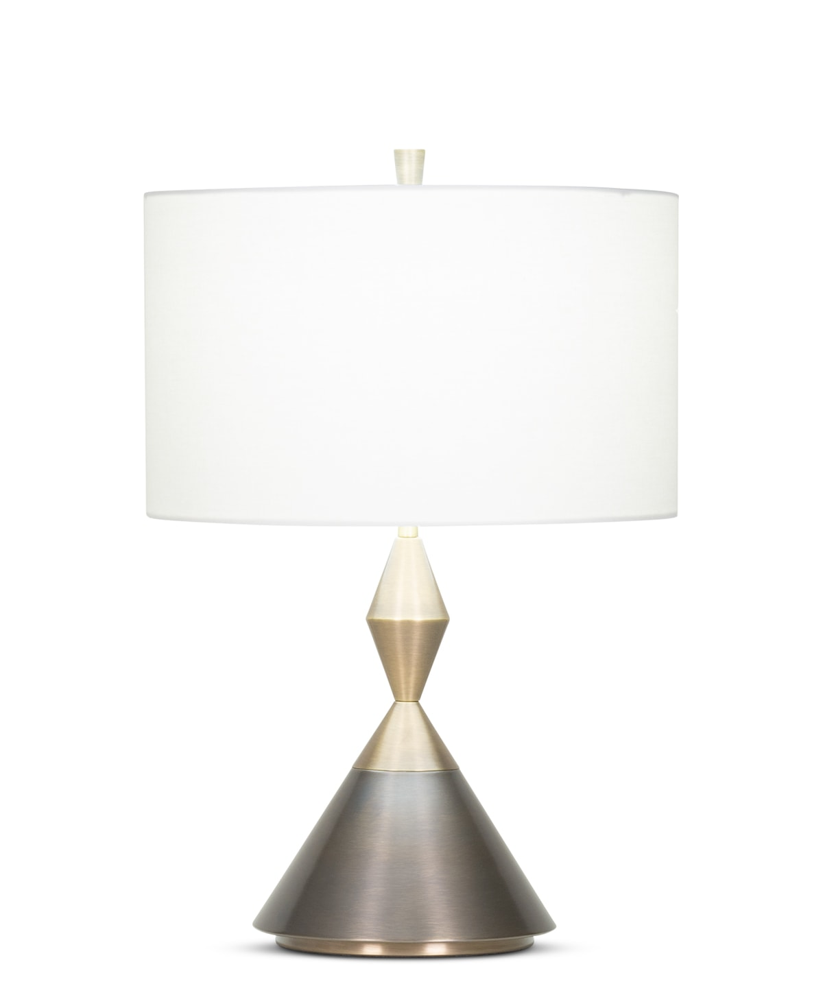 FlowDecor Ontario Table Lamp in metal with antique brass & bronze finishes and off-white linen drum shade (# 4099)