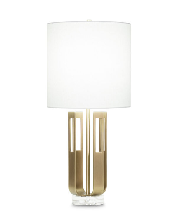 FlowDecor Ophelia Table Lamp in metal with antique brass finish and off-white linen drum shade (# 4003)
