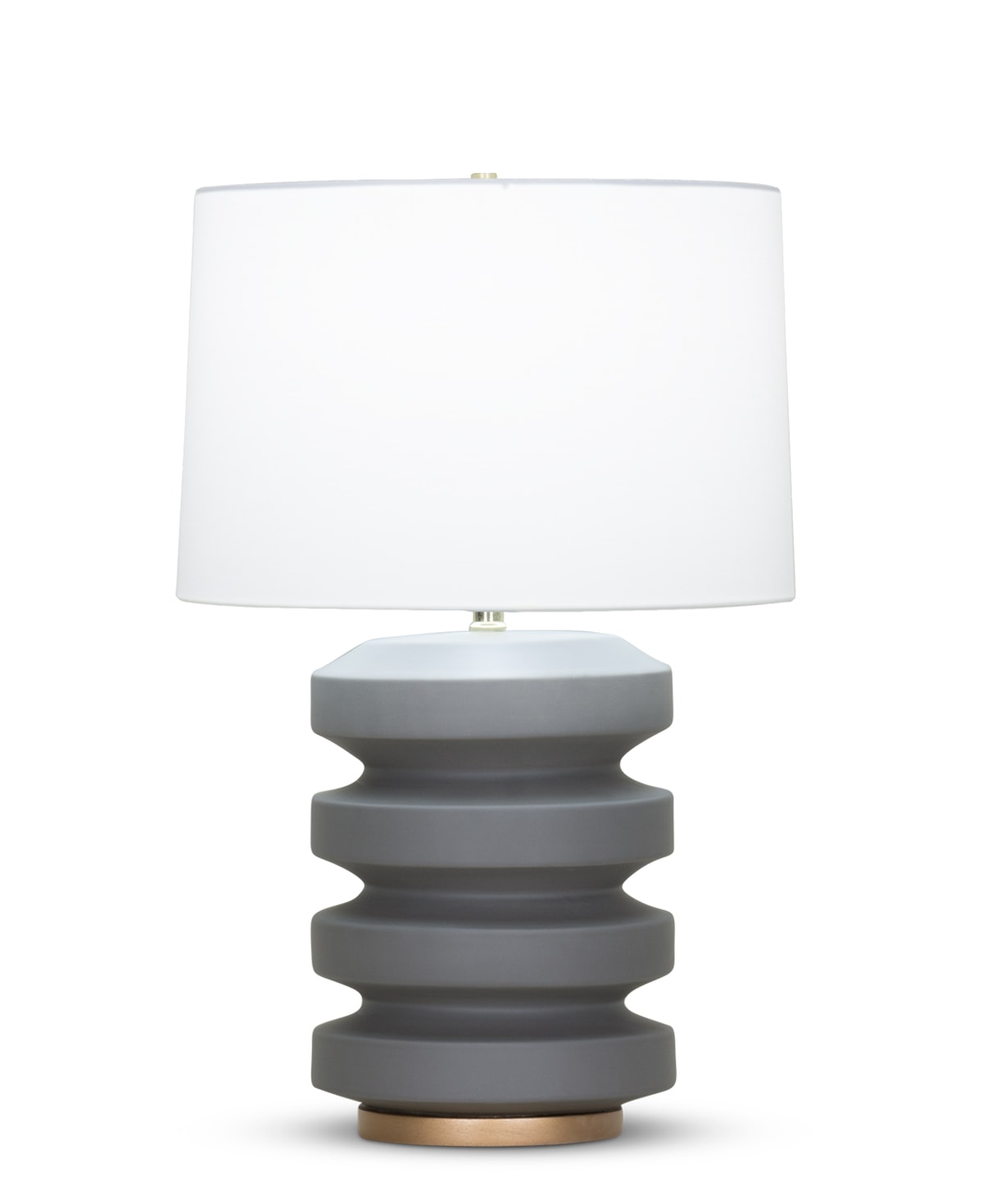 FlowDecor Orpheus Table Lamp in ceramic with charcoal grey matte finish and resin base with gold finish and off-white cotton tapered drum shade (# 4080)