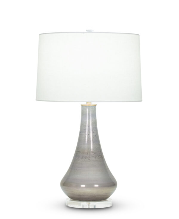 FlowDecor Orwell Table Lamp in mouth-blown glass with grey mixed finish and off-white linen tapered drum shade (# 4030)