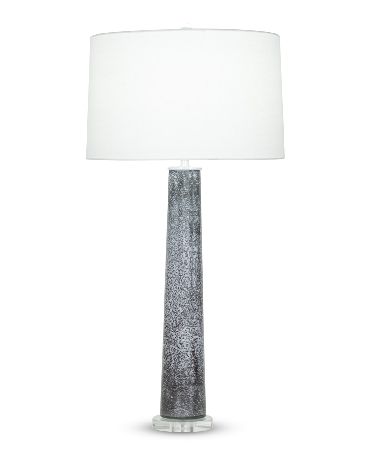 FlowDecor Othello Table Lamp in mouth-blown glass with black and white finish and acrylic base and off-white linen tapered drum shade (# 4011)