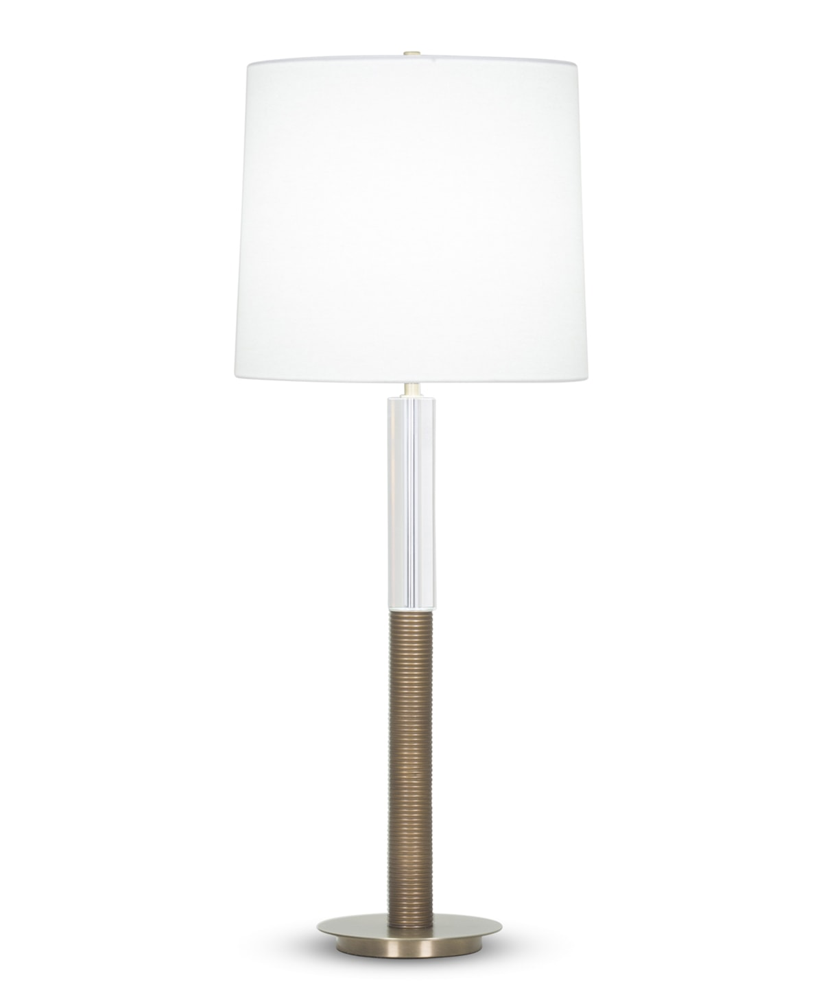 FlowDecor Paige Table Lamp in resin with antique brass finish and crystal and metal with antique brass finish and off-white linen tapered drum shade (# 3998)