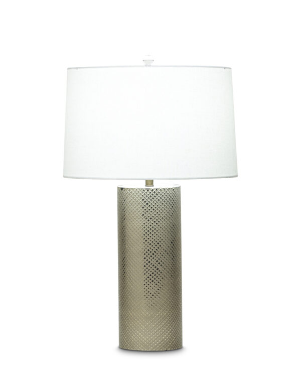 FlowDecor Parker Table Lamp in mouth-blown glass with antique brass hand-etched finish and off-white linen tapered drum shade (# 3769)