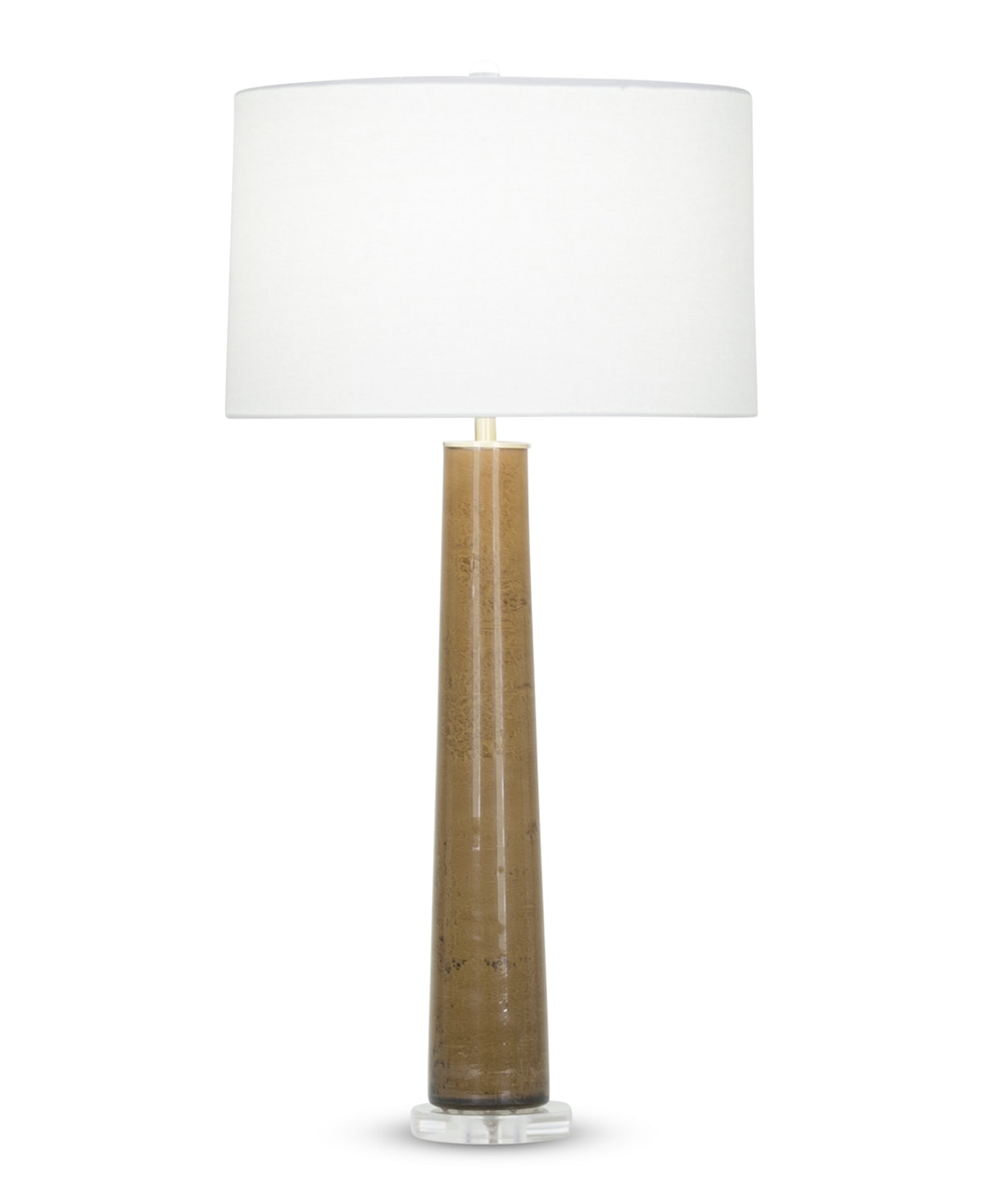 FlowDecor Penelope Table Lamp in mouth-blown glass with brown finish and acrylic base and off-white linen tapered drum shade (# 3951)