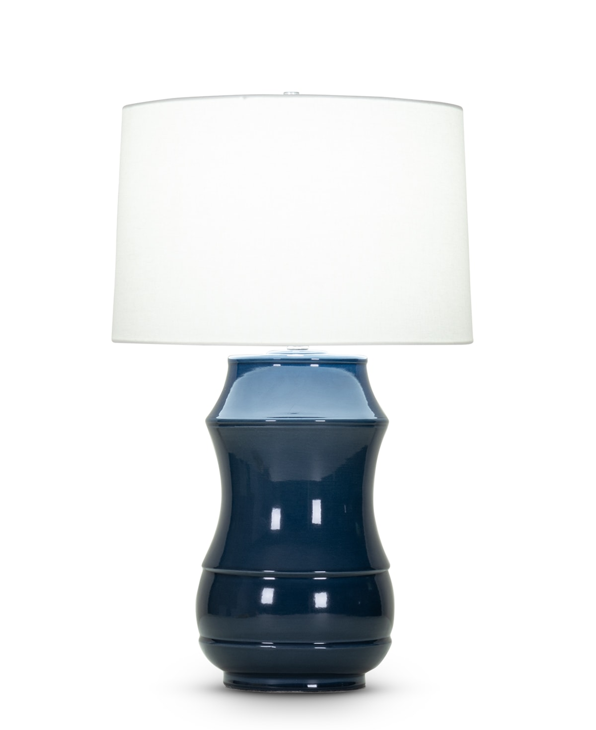 FlowDecor Peterson Table Lamp in ceramic with dark blue crackle finish and off-white linen tapered drum shade (# 4074)