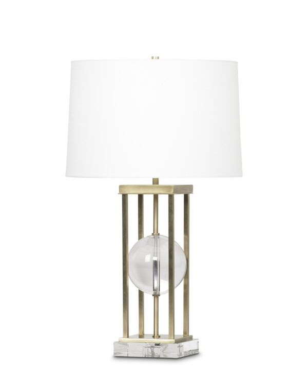 FlowDecor Petrus Table Lamp in crystal and metal with antique brass finish and crystal base and off-white linen tapered drum shade (# 3683)