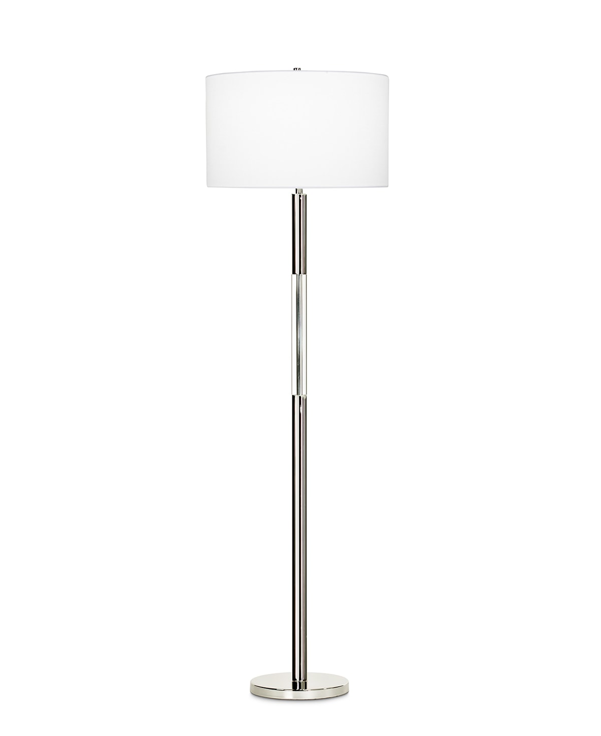 FlowDecor Poppy Floor Lamp in metal with polished nickel finish and crystal and white linen drum shade (# 3719)