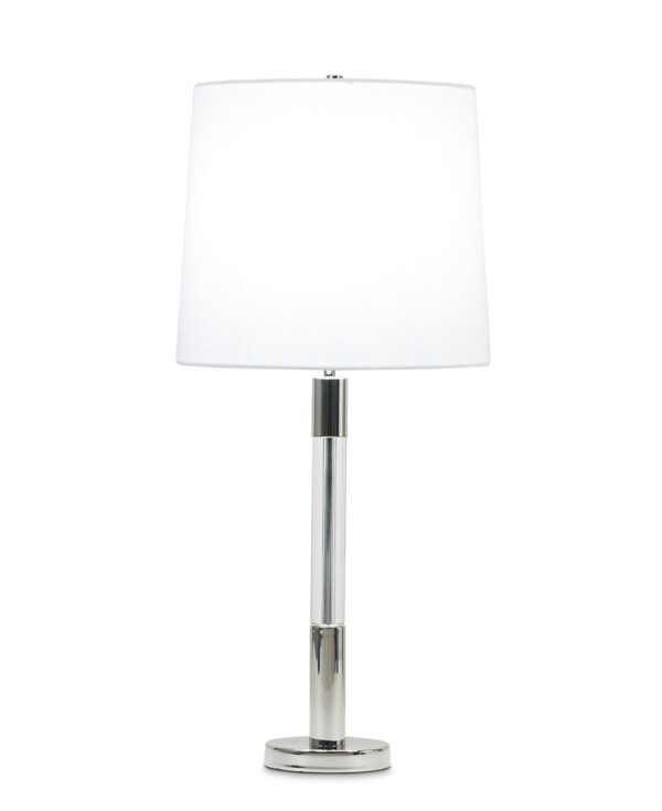FlowDecor Poppy Table Lamp in metal with polished nickel finish and crystal and white linen tapered drum shade (# 3811)