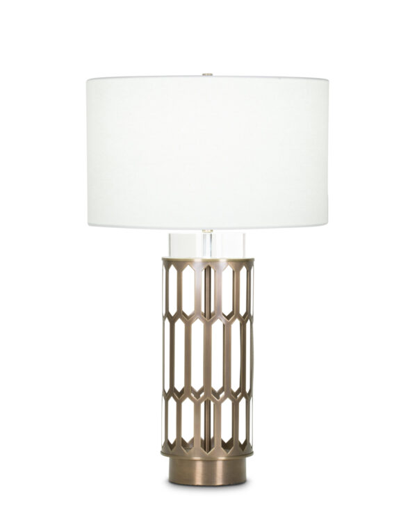 FlowDecor Portia Table Lamp in metal with antique brass finish and crystal and off-white linen drum shade (# 4005)