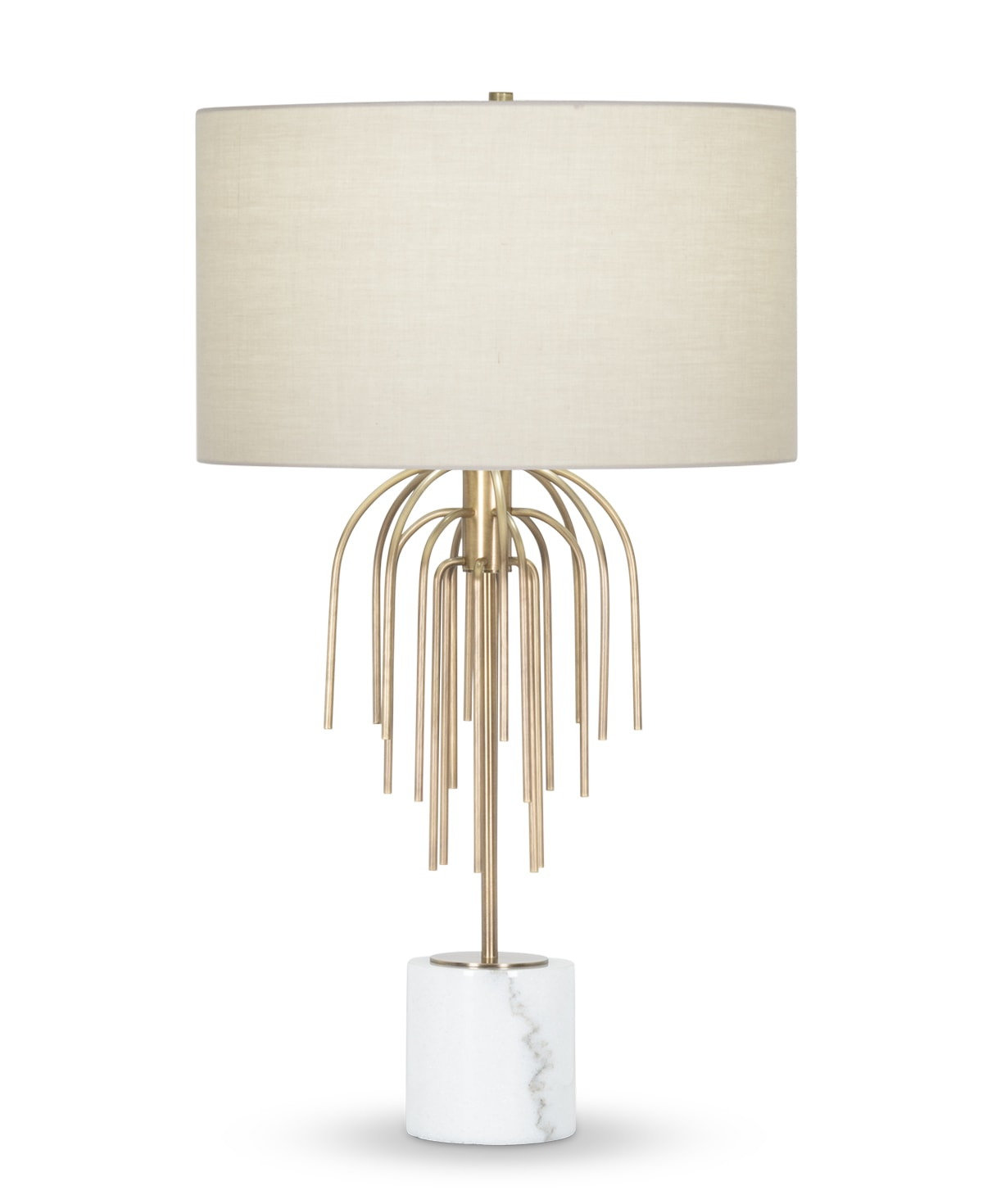 FlowDecor Powell Table Lamp in white marble and metal with antique brass finish and beige cotton drum shade (# 4439)