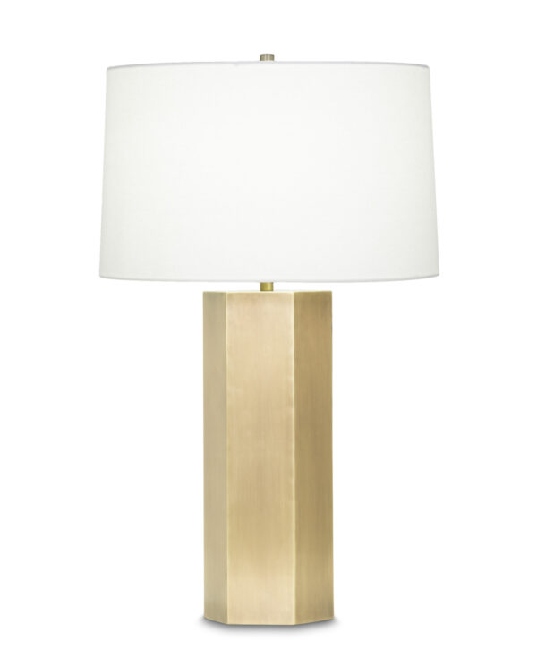 FlowDecor Quinn Table Lamp in metal with antique brass finish and off-white linen tapered drum shade (# 3912)