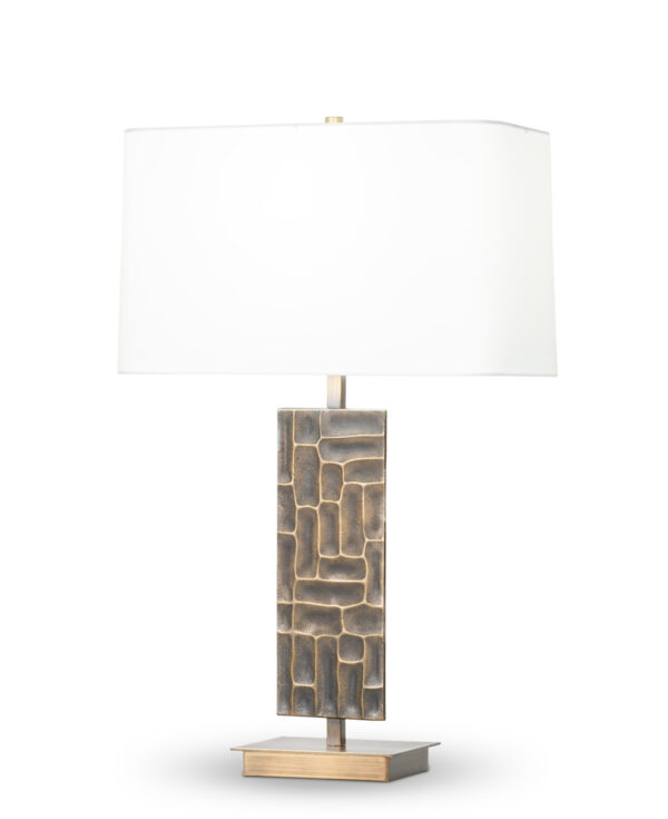 FlowDecor Rachel Table Lamp in metal with antique brass finish and off-white cotton rounded rectangle shade (# 4443)