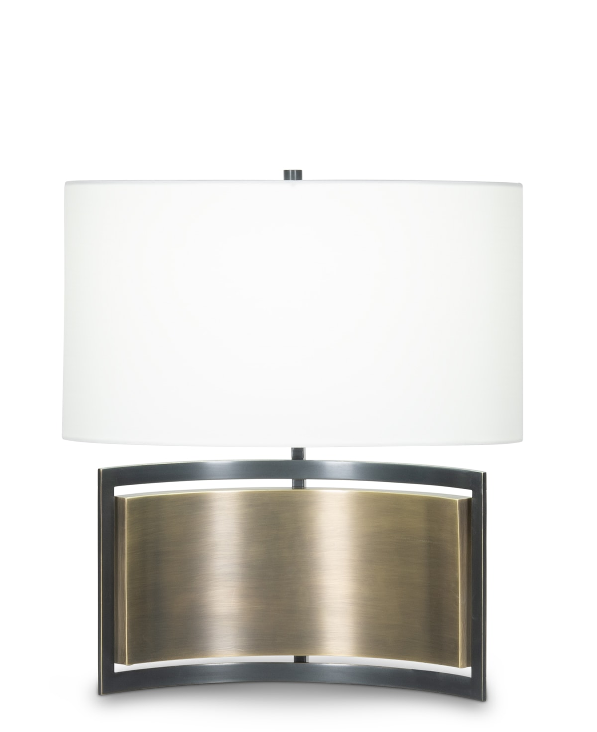 FlowDecor Ray Table Lamp in metal with antique brass & bronze finishes and off-white cotton oval shade (# 4435)