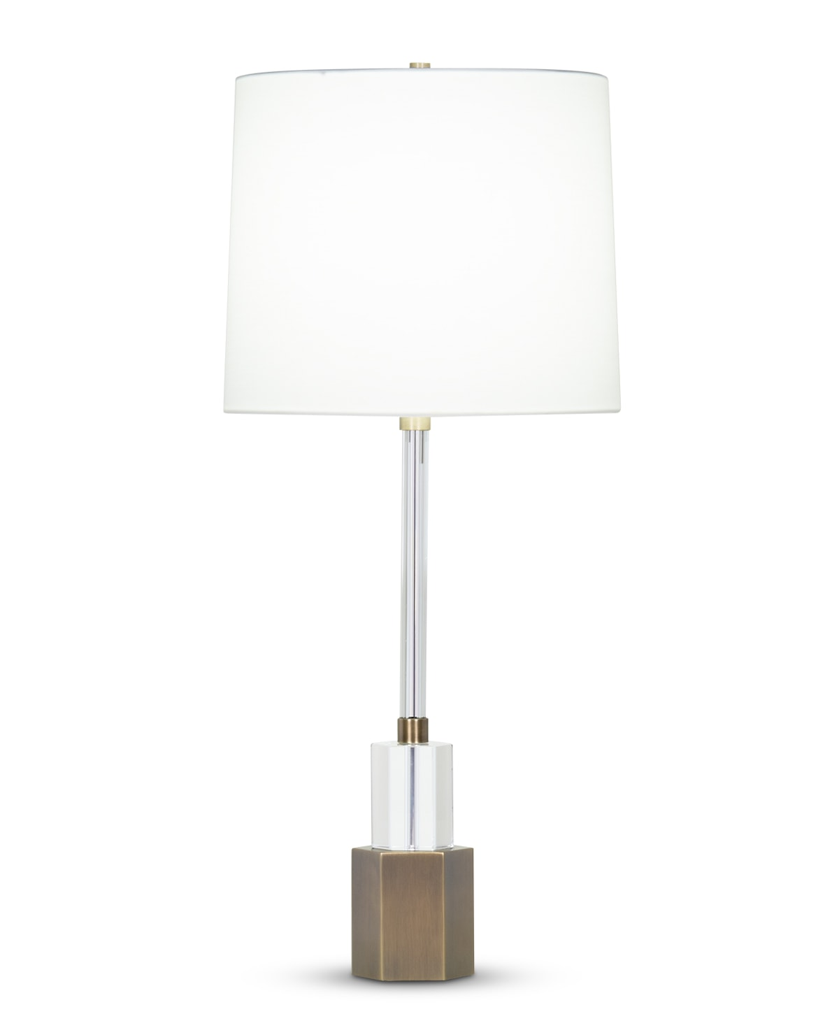 FlowDecor Rhodes Table Lamp in crystal and metal with antique brass finish and off-white cotton tapered drum shade (# 4408)
