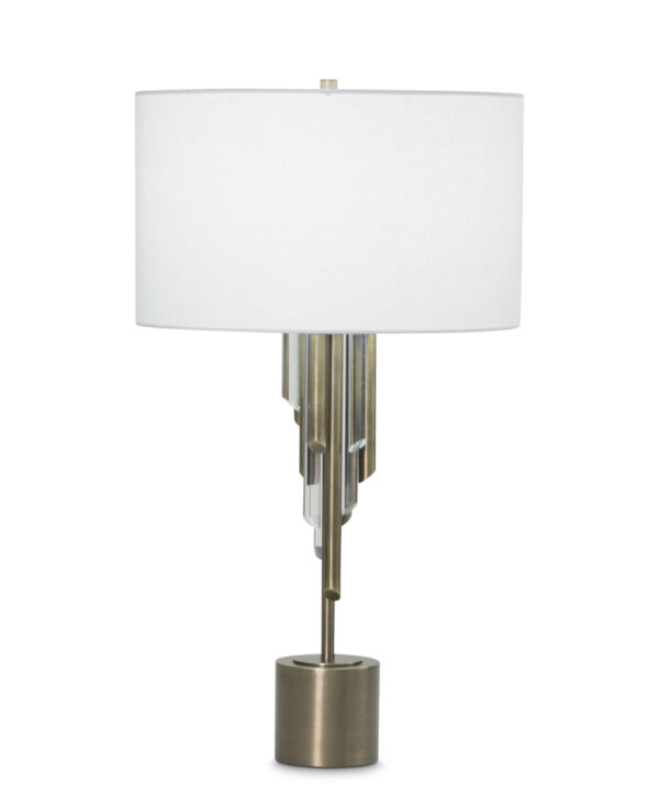 FlowDecor Richards Table Lamp in metal with antique brass finish and acrylic and off-white linen drum shade (# 3880)