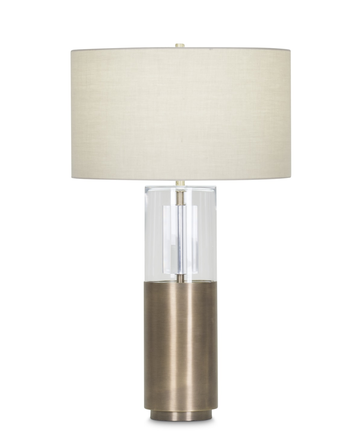 FlowDecor Riley Table Lamp in metal with antique brass finish and glass and beige cotton drum shade (# 3960)