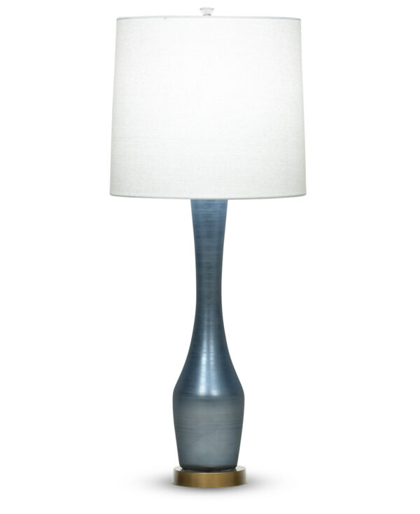 FlowDecor Roberts Table Lamp in mouth-blown glass with pearlescent blue finish and off-white linen tapered drum shade (# 3772)