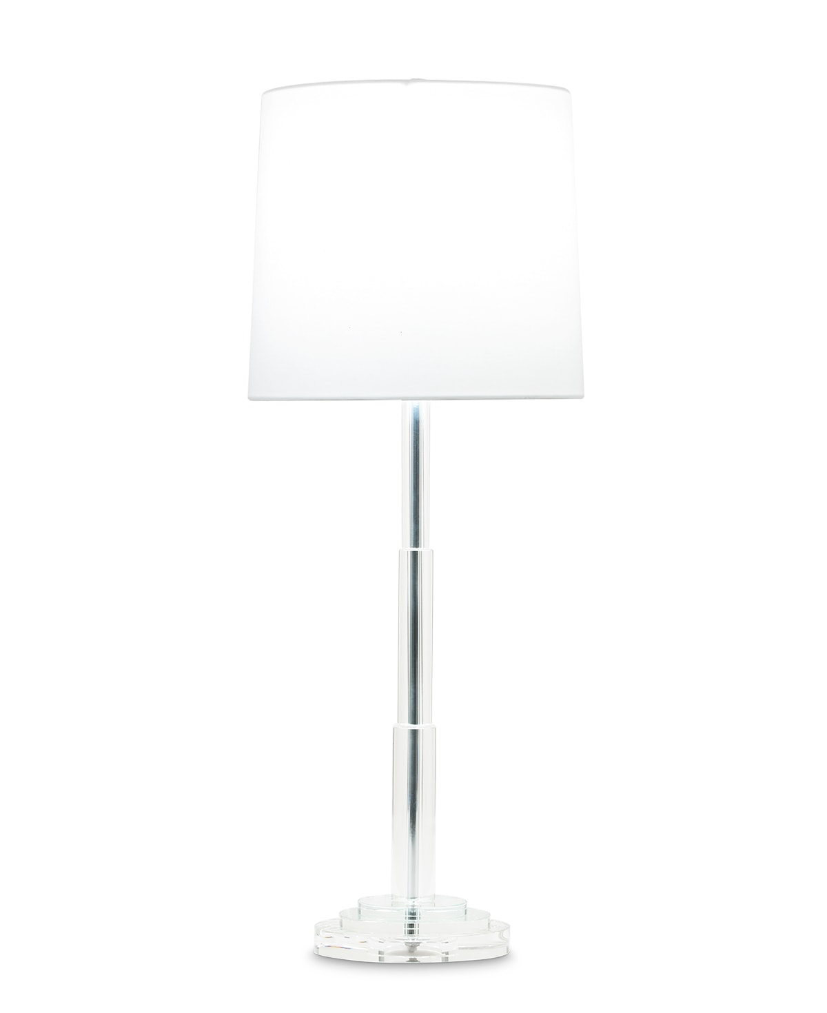 FlowDecor Robinson Table Lamp in crystal and off-white cotton tapered drum shade (# 3821)