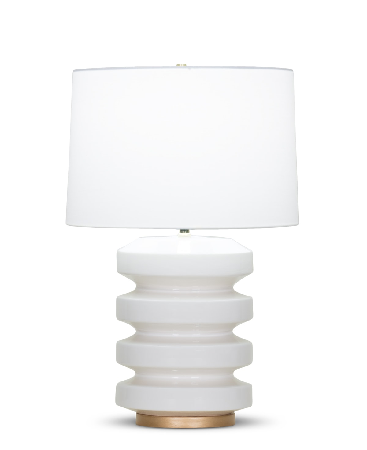 FlowDecor Rollins Table Lamp in ceramic with off-white finish and resin base with gold finish and off-white cotton tapered drum shade (# 4081)