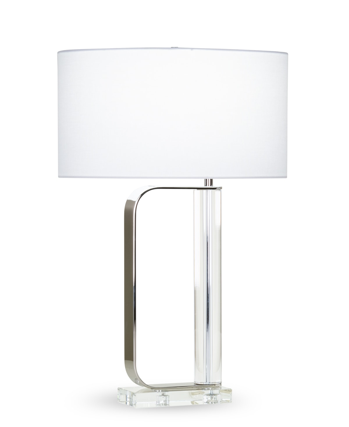 FlowDecor Ronald Table Lamp in crystal and metal with polished nickel finish and white linen oval shade (# 4413)